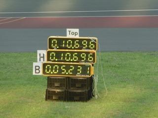 橋本選手のタイムは10秒696 大会新記録!