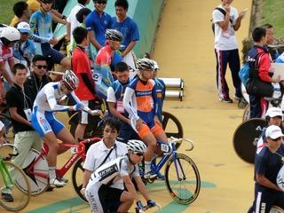 少年男子ポイントレース予選2組 山本選手スタンバイ完了!