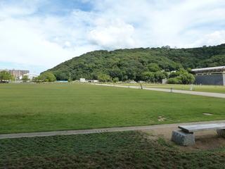 旧堀之内バンク4コーナー付近から旧競輪場敷地を望む