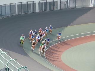 女子ポイントレース 序盤周回の集団走行