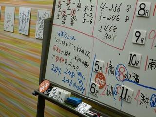 ガイダンスコーナーの白板に書いた「ヘボヘボ予想」